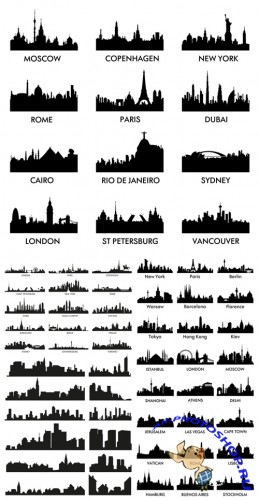 Vector Cities Silhouettes Set