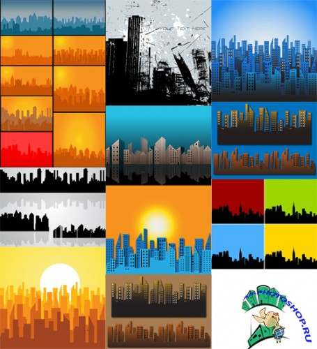 14 Skylines Vector Set