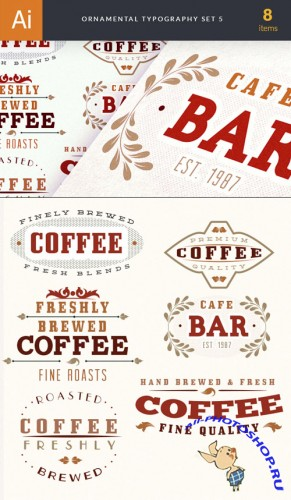 Ornamental Typography Vector Elements Set 5