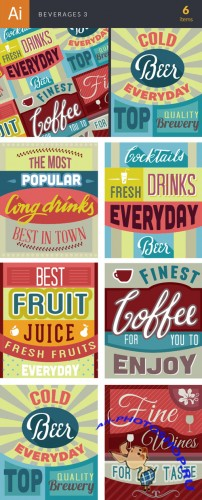Beverages Vector Illustrations Pack 3