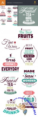 Drinks Typographic Vector Illustrations Pack 2