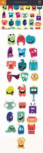 Cute Monsters Vector Elements Set