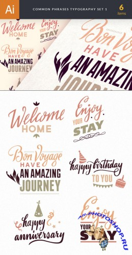 Common Phrases Typography Vector Illustrations Pack 1