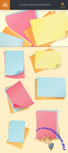 Colorful Blank Paper Sheets Vector Illustrations Pack