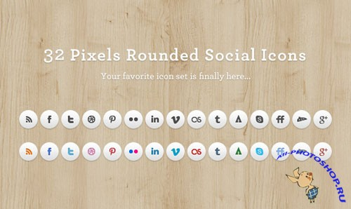 32 Pixels Rounded Social Media Icons