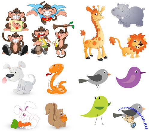 Cartoon Animals Vector Set and ABR