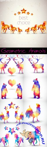 Silhouettes of Animals Absract Geometric Vector Patterns
