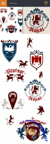 Griffins Vector Elements Set