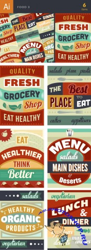 Food Typographic Vector Illustrations Pack 3