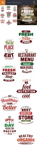 Food Typographic Vector Illustrations Pack 1