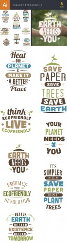 Ecology Typographic Vector Elements Set 2