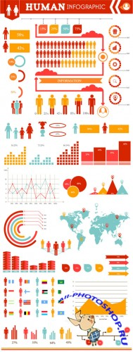 Human Infographic Vector Illustrations