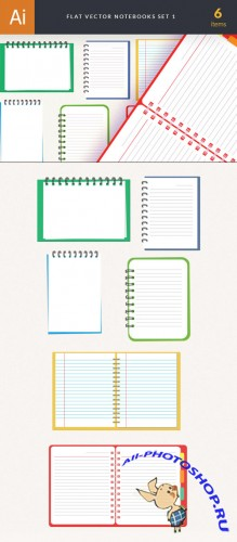 Flat Notebooks Vector Elements Set 1
