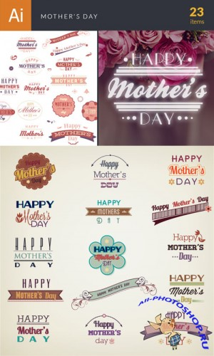 Mother's Day Typographic Vector Elements Set 1