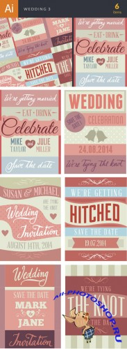 Wedding Typography Badge Vector Illustrations Pack 3