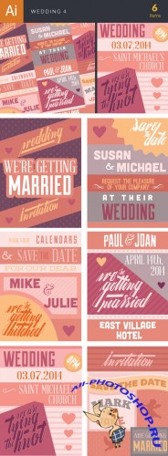 Wedding Typography Badge Vector Illustrations Pack 4