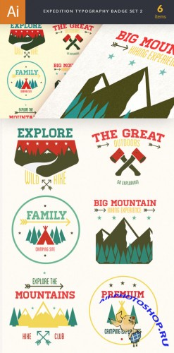 Expedition Typography Badge Vector Illustrations Pack 2