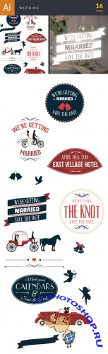 Wedding Typography Badge Vector Illustrations Pack 1