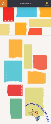 Torn Colorful Paper Vector Elements Set 2
