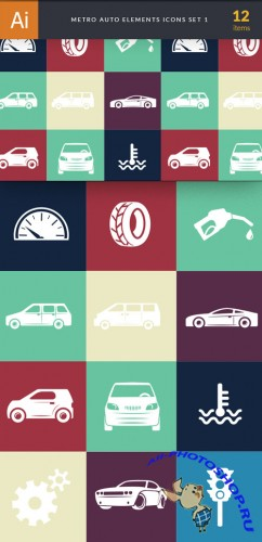 Auto, Cars Elements Vector Icons Set 1