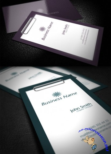 Premium Business Card Mock-Up PSD Template #2 - Purple, Green and Blue Colors