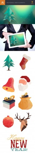 Xmas Polygonal Vector Elements