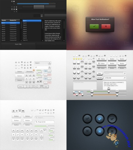 6 Web Ui Kits and Elements Collection PSD