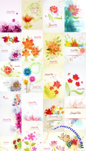 24 Vector Floral illustrations Set 2