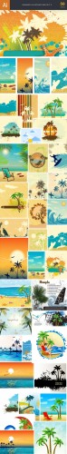 50 Summer Vector Illustrations Bundle