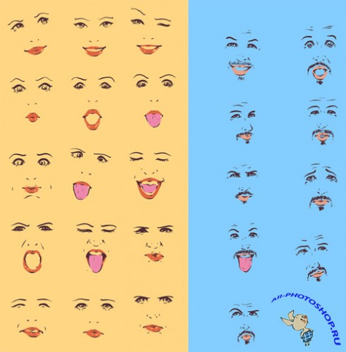 Vector Male and Female Expressions