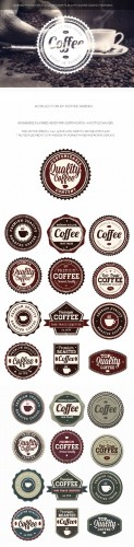 Coffee Badges Vector Elements Set