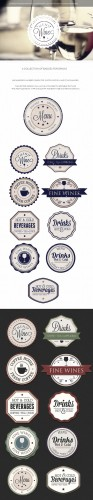 Drinks Badges Vector Elements Set