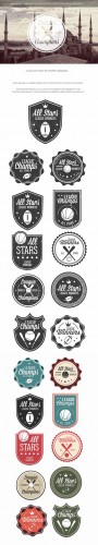 Sports Badges Vector Elements Set