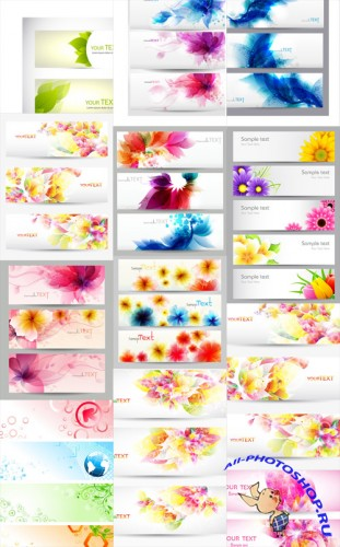 Floral Vector Banners Set