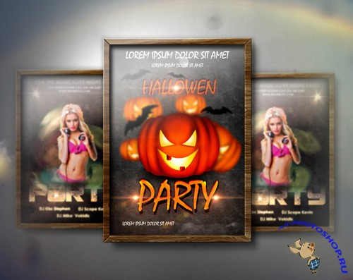Flyer Mock up with Wood Frame PSD