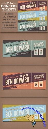 CreativeMarket - Retro Concert Tickets