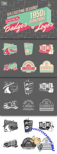 Creativemarket - 1950s Storefront - Badges and Logos