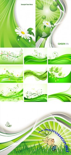 Green Abstract Floral Vector Backgrounds