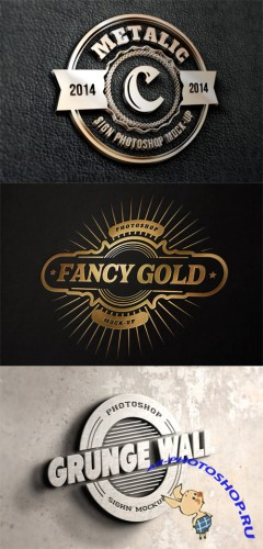 3 Photorealistic Logo Mock up Templates Vol 2
