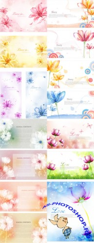 Vector Backgrounds - Fantasy Love Flowers