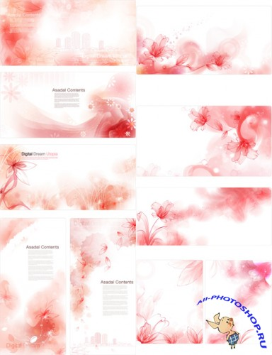 Vector Backgrounds - Red Flowers