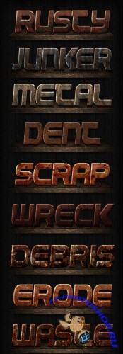 Rusty Text Styles for Photoshop