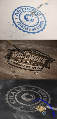 3 Photorealistic Logo Mock up Templates Vol 4