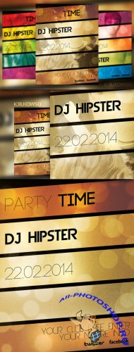 CreativeMarket - Party Time Hipster Flyer