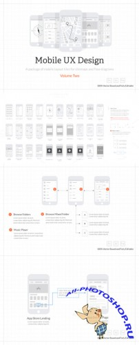 CreativeMarket - Mobile UX Design Tiles V2