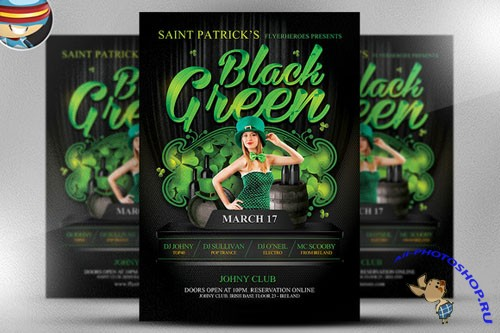 CreativeMarket - St. Paddy's Day Black & Green Flyer