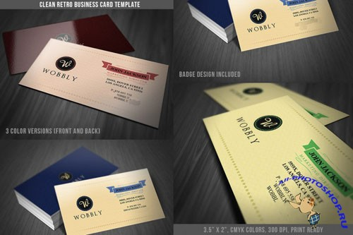 Clean Retro Business Card PSD Template