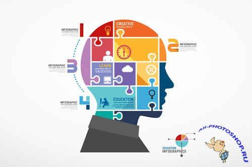 CreativeMarket - Infographic Head Jigsaw Concept.