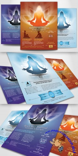 CreativeMarket - Simple Yoga Meditation Flyers 21408