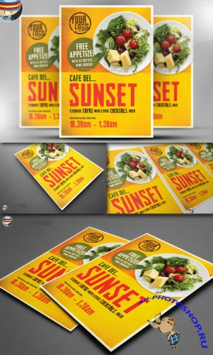 CreativeMarket - Cafe Sunset Poster Template